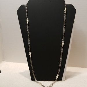 Long silver and pearls necklace